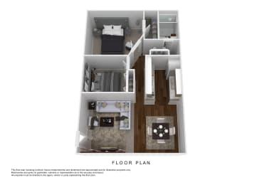 2BD1BA Floor Plan at Oak Run Apartment Homes, Ohio, 43228