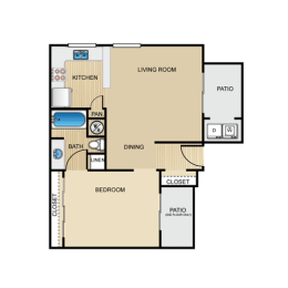 Floor Plan  Rialto 1 Bedroom Apartment for Rent Granite at Tuscany Hills San Antonio