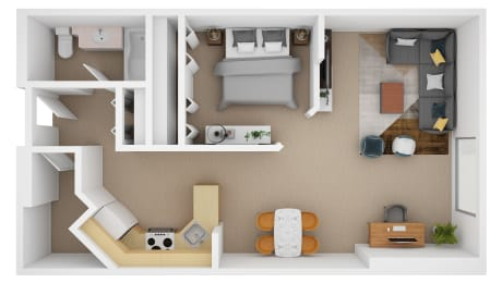 Floor Plan 1 Bedroom (B)