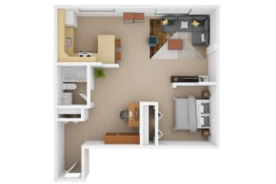 Floor Plan 1 Bedroom (C)