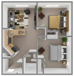 Floor Plan 2 Bedroom (D1)