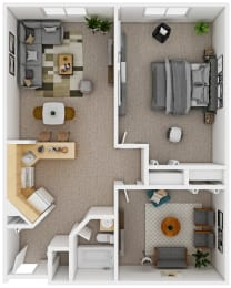 Floor Plan 1 Bedroom with Den (D4)