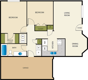 2 Bedroom 1 Bath Floor Plan at Devonshire Court Apartments & Townhomes, North Logan, UT