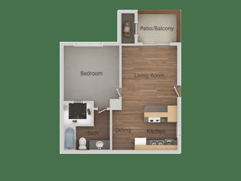 1 Bed 1 Bath Floor Plan at Glen OaksApartments, Glendale