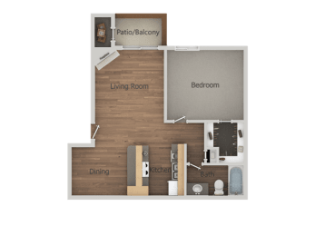 1 Bedroom 1 Bathroom Floor Plan at Glen OaksApartments, Glendale, Arizona