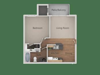 One bedroom One bathroom Floor Plan at Cimarron Place Apartments, Tucson, AZ, 85712