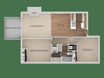 2 Bedroom 1 Bath Floor Plan at Edgewater Isle Apartments & Townhomes, Hanford, 93230