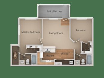 2 bedroom 2 bath Floor Plan at Aspen Park Apartments, California