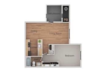 1 Bed 1 Bath Floor Plan at Bent Tree Apartments, California