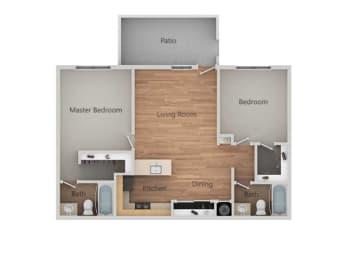 2 bedroom 2 bath Floor Plan at Bent Tree Apartments, Sacramento, CA, 95842