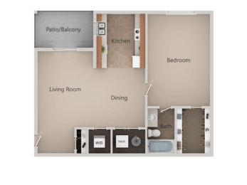 1 Bed 1 Bath Floor Plan at Crossroads Apartments, Utah, 84119