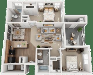 2 Bed 2 Bath Floor Plan at Falls at Riverwoods Apartments & Townhomes, Logan