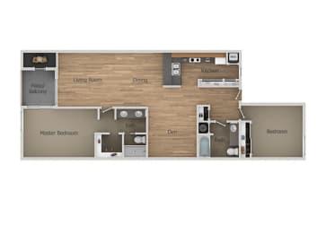 2 Bedroom 2 Bath With Den Floor Plan at Aztec Springs Apartments, Mesa, AZ