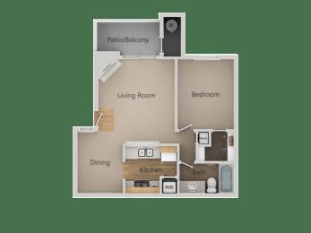 One Bed One Bath Floor Plan at Chesapeake Commons Apartments, Rancho Cordova, California