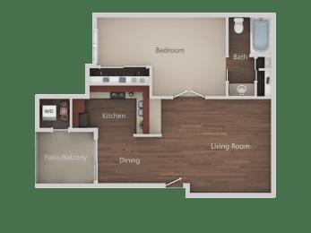One Bed One Bath Floor Plan at Eucalyptus GroveApartments, Chula Vista, CA, 91910