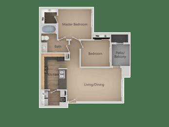 Two Bed One Bath Floor Plan at Four Seasons at Southtowne Apartments, South Jordan, Utah