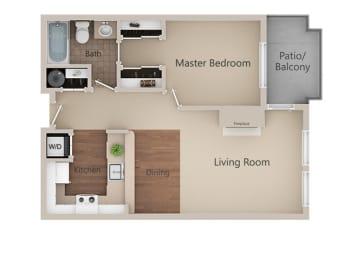 1 Bed 1 Bath Floor Plan at Metropolitan PlaceApartments, Renton, Washington