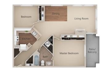 2 bedroom 2 bath Floor Plan at Metropolitan PlaceApartments, Renton