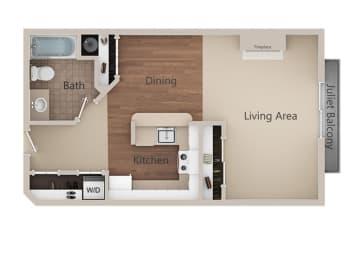 Studio  Floor Plan at Metropolitan PlaceApartments, Renton, 98057