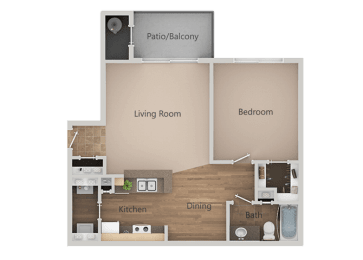 1 Bed 1 Bath Floor Plan at Remington Apartments, Utah, 84047