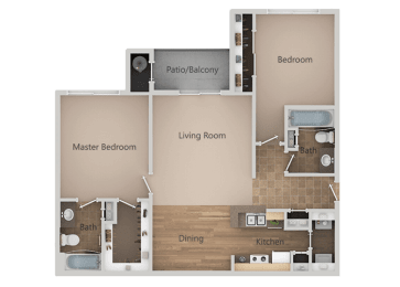 2 bedroom 2 bath Floor Plan at Remington Apartments, Midvale, UT