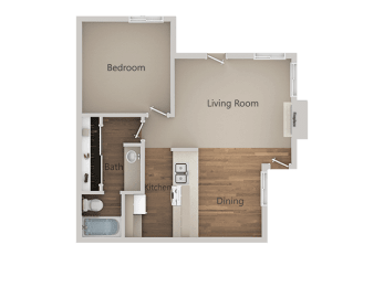 1 Bedroom 1 Bathroom Floor Plan at River Oaks Apartments & Townhomes, California