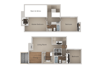 3 bedroom 2 bath Floor Plan at River Oaks Apartments & Townhomes, California, 93230