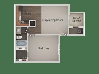 1 Bed 1 Bath Floor Plan at River PointApartments, Arizona