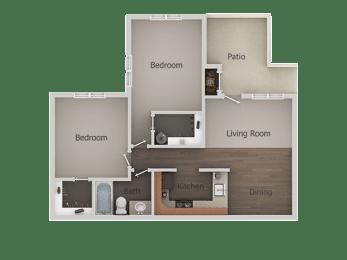 2 Bedroom 1 Bathroom Floor Plan at River PointApartments, Arizona, 85712