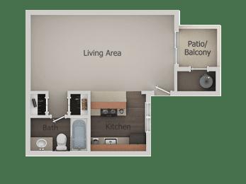 Studio  Floor Plan at River PointApartments, Tucson