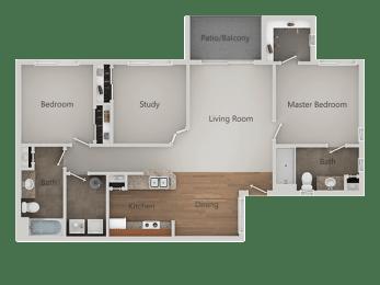 Two bedroom Two bathroom Floor Plan at Canyon Ridge Apartments, Surprise, Arizona