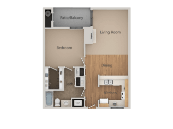 1 Bedroom 1 Bathroom Floor Plan at California Place Apartments, California