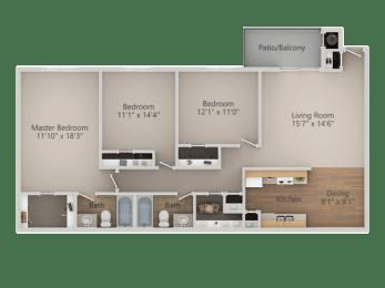 3 bedroom 2 bath Floor Plan at Courtyard at Central Park Apartments, Fresno, California