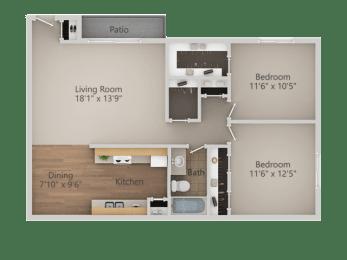 2 Bedroom 1 Bath Floor Plan at Courtyard at Central Park Apartments, Fresno, CA