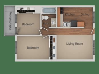 2 Bedroom 1 Bath Floor Plan at Creekside Villas Apartments, San Diego