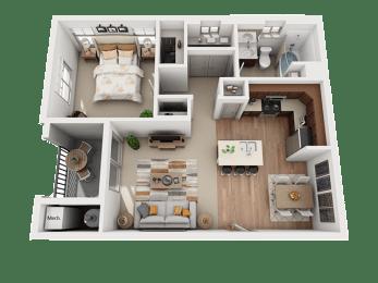 1 Bed 1 Bath Floor Plan at Four Seasons Apartments & Townhomes, Utah