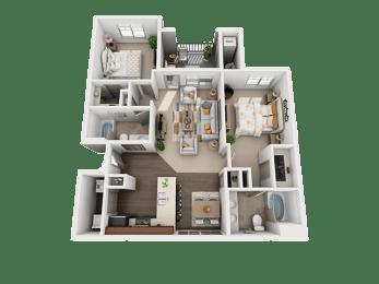 2 Bedroom 2 Bathroom Floor Plan at Four Seasons Apartments & Townhomes, Utah, 84341