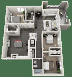 3 bedroom 2 bath Floor Plan at RivuletApartments, American Fork, 84003