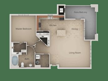 One Bed One Bath Floor Plan at San Marino Apartments, Utah