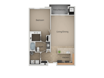 One Bed One Bath Floor Plan at San Moritz Apartments, Midvale, UT