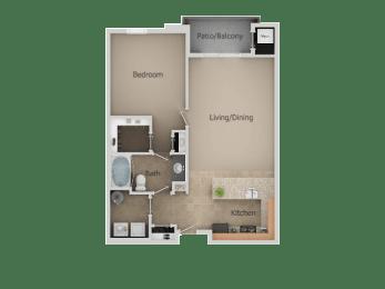 One Bed One Bath Floor Plan at San MoritzApartments, Midvale, UT