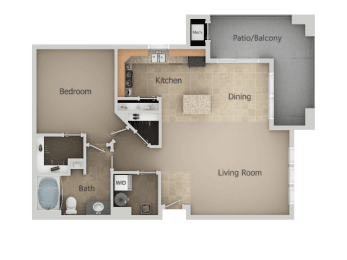 1 Bedroom 1 Bathroom Floor Plan at San MoritzApartments, Midvale, 84047