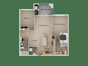 2 Bedroom 2 Bathroom Floor Plan at San MoritzApartments, Midvale