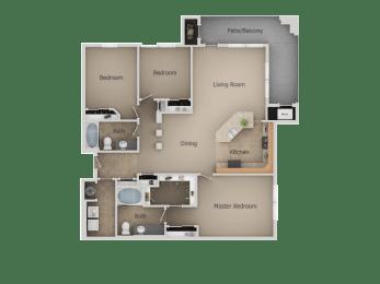 Three Bed Two Bath Floor Plan at San MoritzApartments, Utah, 84047
