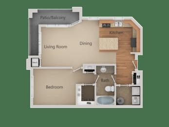 1Bed_1Bath B at San Tropez Apartments & Townhomes, Utah, 84095