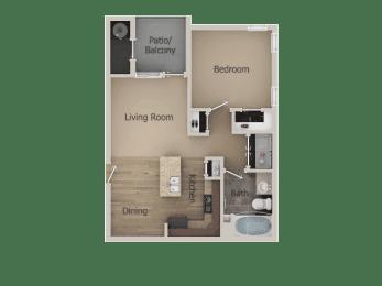 1 Bed 1 Bath Floor Plan at Talavera at the Junction Apartments & Townhomes, Utah