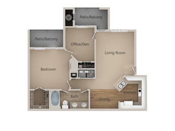 One bedroom One bathroom Floor Plan at Trailside Apartments, Colorado, 80134