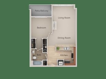 Floor Plan 1x1 with Den