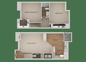 2 Bedroom 1 Bath Floor Plan at River Oaks Apartments & Townhomes, Hanford