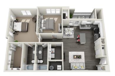 2 Bedroom 2 Bathroom Floor Plan at RivuletApartments, American Fork, Utah